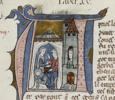 """רוזן אדסה ונסיך אנטיוכיה משחקים בקוביות, """"ההיסטוריה של ממלכת ירושלים"""", ויליאם מצור"""