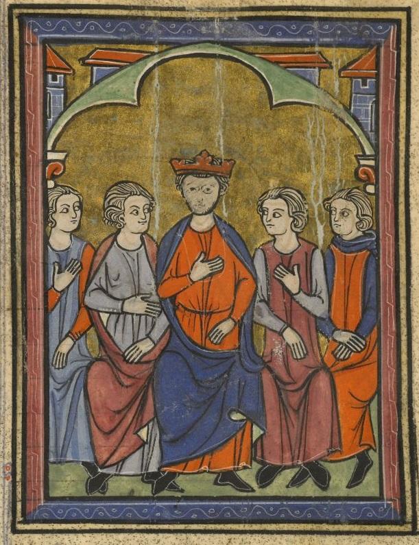 """מועצת מלכי הצלבנים בעכו ב-1148, בה השתתפו לואי השביעי מלך צרפת, קונראד ה-3 שליט גרמניה ובאלדווין ה-3 מלך ירושלים. היכן שנחתם מסמך ה""""אסיסי"""" (אוסף גדול של אמנות והסכמים הנוגע לחייהם של המסדרים הצלבניים בארץ ישראל). """"ההיסטוריה של ממלכת ירושלים"""", ויליאם מצור"""