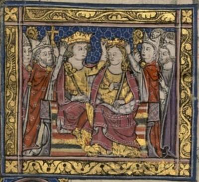 האביר הצרפתי ז'אן דה בריין ויורשת העצר של ממלכת ירושלים מריה ממונפראטו ביום נישואיהם, 1210